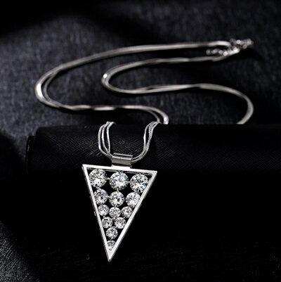 純銀項鍊鍍白金鑲鑽吊墜~ 簡約三角形七夕情人節 女飾品2色73dw61~ ~~米蘭 ~