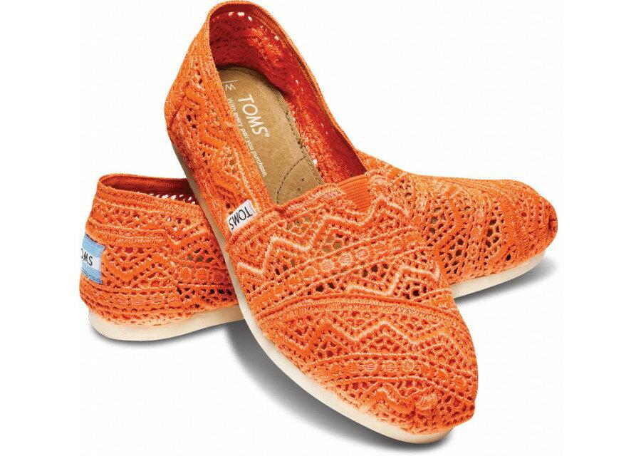 [Anson king]國外代購TOMS 帆布鞋/懶人鞋/休閒鞋/至尊鞋 蕾絲系列  橘色 女款 0