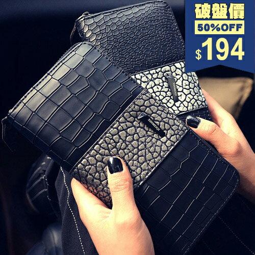 長夾-韓版鱷魚紋豎條大容量錢包 包飾衣院 A1086 現貨+預購