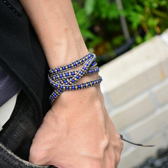 【現貨商品】【CHAN LUU】青金石鍍金珠灰色皮繩手環/5圈(CL-BG-3508Ll-NaturalGray  06734700EE) 1