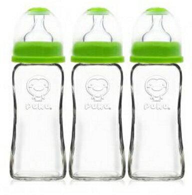 PUKU 藍色企鵝 寬口卡哇伊玻璃奶瓶270cc ^(三入^) 綠色 ~  好康折扣