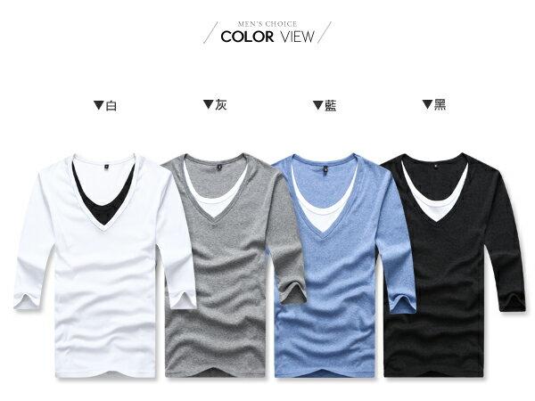 ☆BOY-2☆【PPK82005】V領2層質感素面假內裡時尚7分T 4色 現+預 2