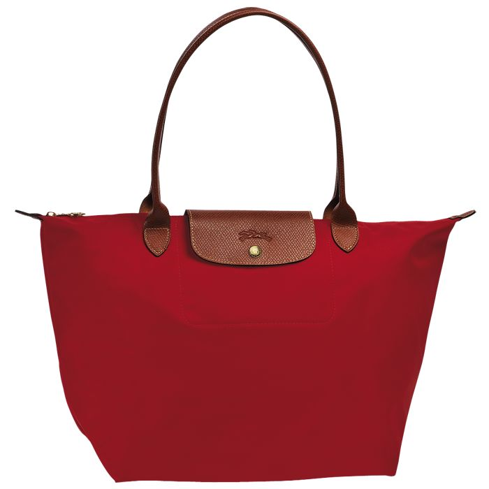 [1899-M號] 國外Outlet代購正品 法國巴黎 Longchamp 長柄 購物袋防水尼龍手提肩背水餃包紅色 0
