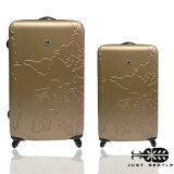Just Beetle世界地圖系列超值兩件組28吋+20吋輕硬殼旅行箱/行李箱 0