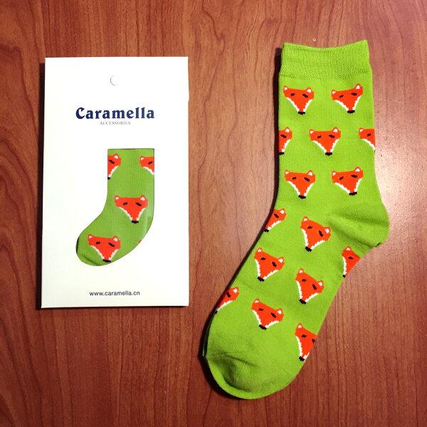 【開幕促銷】Caramella 小狐狸 中筒襪 短襪 船襪 隱形襪 五指襪 文青情侶 運動穿搭 阿華有事嗎 C0003