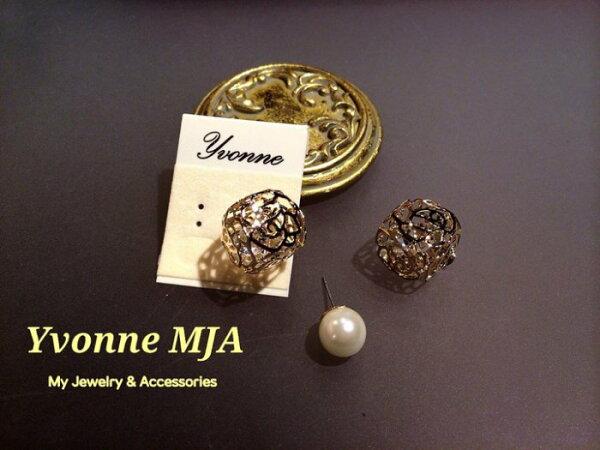 *Yvonne MJA珠寶首飾品*韓風時尚名品款設計前後戴金色薔薇花方塊奧地利水晶珍珠耳環(可改夾式)(2戴式)