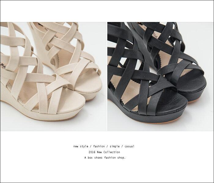 格子舖*【KD729】MIT台灣製 百搭時尚交叉繞帶皮革前4後10CM厚底楔型拉鍊羅馬涼鞋 2色 1