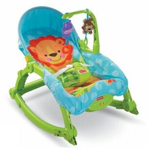 費雪 Fisher-Price 可愛動物可攜式兩用安撫躺椅/搖椅 W2811