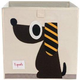 【淘氣寶寶】加拿大 3 Sprouts 收納箱-黑皮狗【超大容量造型收納箱,可摺疊,100%棉帆布手感柔軟耐抗污】【保證公司貨●品質保證】