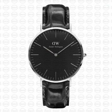 40MM 0135DW 黑錶面 黑鱷魚錶帶 瑞典正品代購 Daniel Wellington 男錶手錶腕錶 男生聖誕交換禮物 0