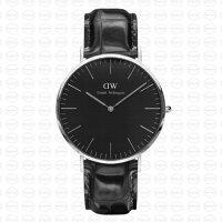 送男生聖誕交換禮物到40MM 0135DW 黑錶面 黑鱷魚錶帶 瑞典正品代購 Daniel Wellington 男錶手錶腕錶 男生聖誕交換禮物