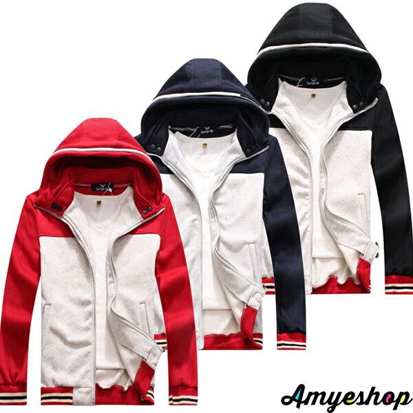 外套 情侶外套 防風外套 保暖外套 羅紋棒球連帽立領雙色刷毛運動外套【M50111】艾咪E舖