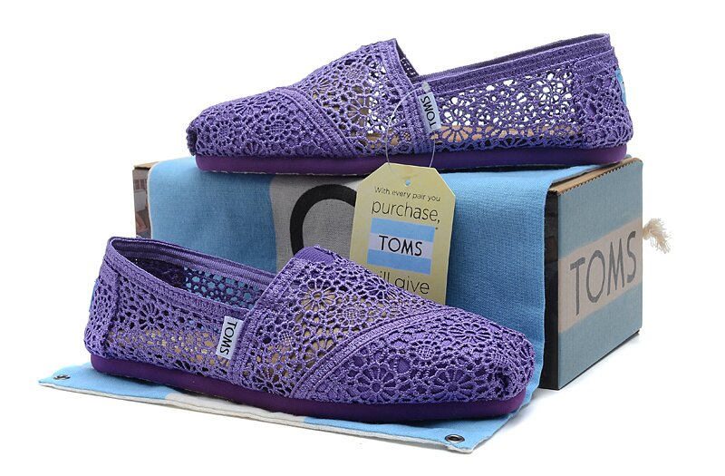 【TOMS】深紫色蕾絲鏤空繡花平底休閒鞋  Purple Crochet Women's Classics 8