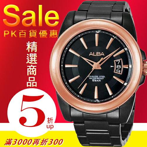 ALBA彭于晏代言FLAGSHIP型男時尚腕錶-IP黑 VJ42-X007K/AS9046X公司貨