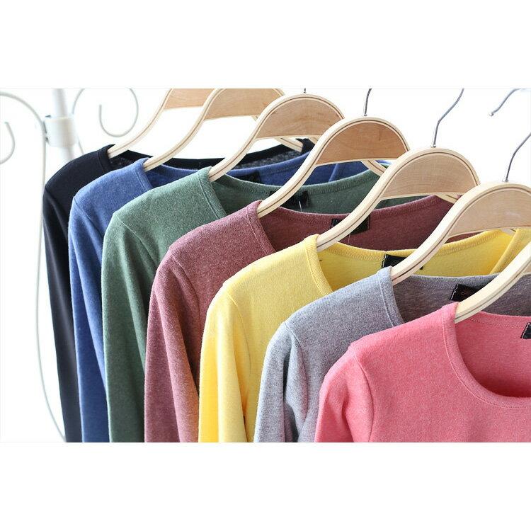 T恤 素色磨毛棉圓領口袋長袖T恤【MZTX0111】 BOBI  10/27 2