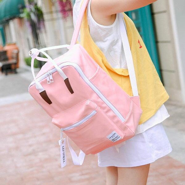 後背包-韓風素面方型手提後背包-6066- J II