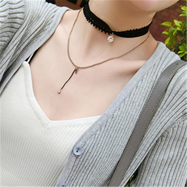 PS Mall 韓版蕾絲花邊鉚釘珍珠亮鑽雙層波浪重疊項鍊短款頸鏈鎖骨鏈項圈【G1952】