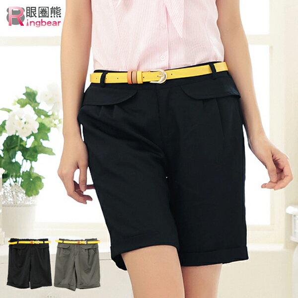 短褲--今夏最新流行荷葉邊造型褲頭百慕達直筒短褲(黑.綠M-L)-R116眼圈熊中大尺碼