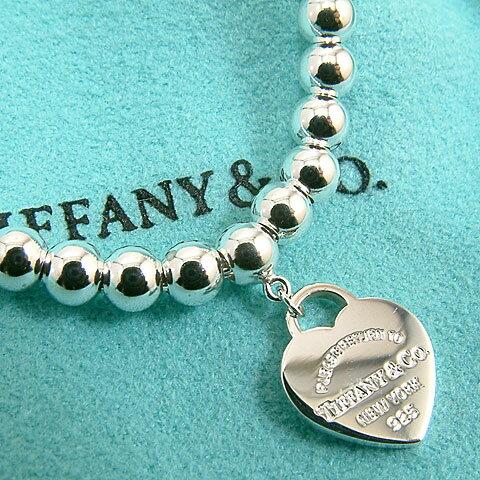 【奢華時尚】TIFFANY&Co. mini 藍色心牌圓珠手鍊#9973