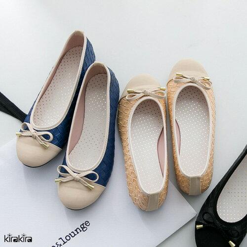 娃娃鞋 SALE 編織皮革拼接蝴蝶結平底娃娃鞋