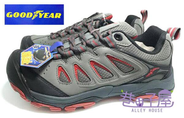 【巷子屋】GOODYEAR固特異 男款防臭透氣護趾戶外郊山鞋/登山鞋 [53628] 灰紅 超值價$690