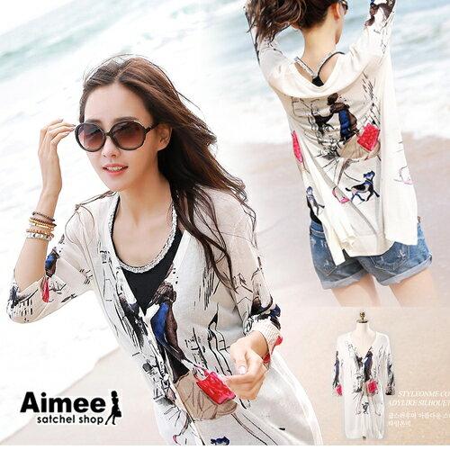~ ~~Aimee~春夏‧加州艷陽貝克海灘七分袖針織薄外套~戶外防曬冷氣房保暖~‧正韓國空