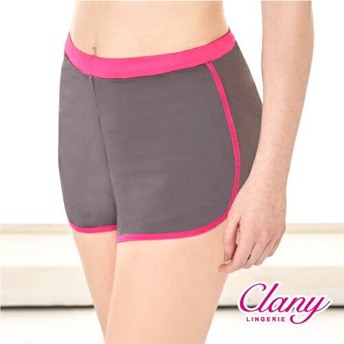 【可蘭霓Clany】防走光時尚顯瘦L-XL運動短褲 時尚黑/桃邊 5921-35 2