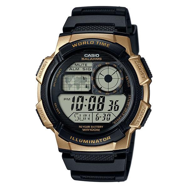 CASIO G-SHOCK AE-1000W-1B黑金地圖數位腕錶/44mm