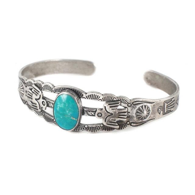 【海外訂購】【Indian Jewelry】印地安圖騰刻印綠松石古董手鐲(Vintage-077  S000008758) 0