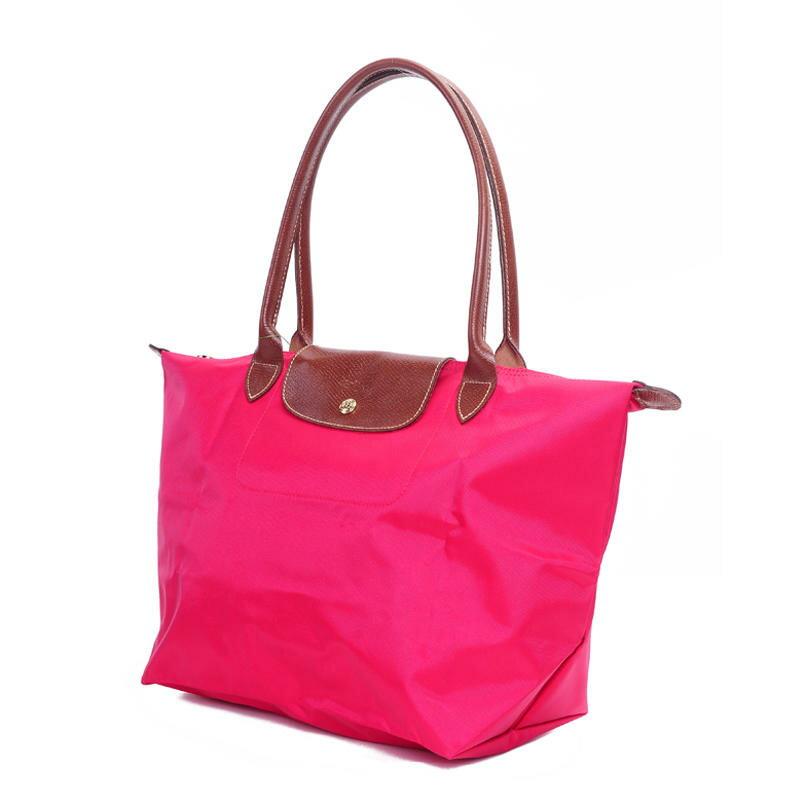 [長柄M號]國外Outlet代購正品 法國巴黎 Longchamp [1899-M號] 長柄 購物袋防水尼龍手提肩背水餃包 桃紅