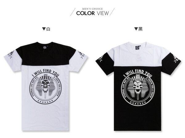 ☆BOY-2☆【KK5108】短袖T恤潮流修身拼接配色法老王金字塔印花短T 1