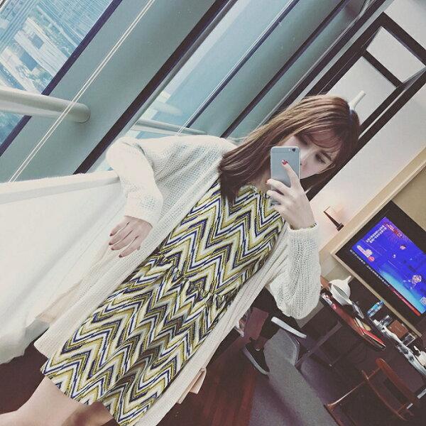 PS Mall 復古波浪紋圓領長袖雪紡打底連身裙 洋裝【T2591】