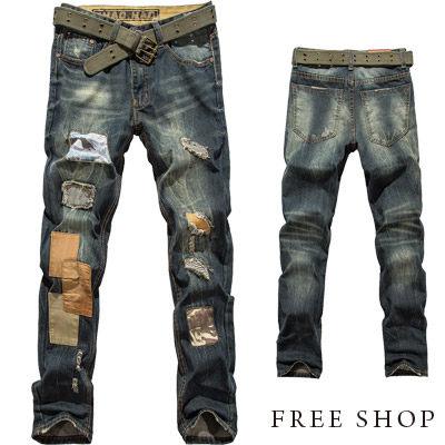 Free Shop【QR30219】日韓街頭風格刷色頹廢風破壞修補水洗單寧牛仔褲牛仔長褲‧藍色