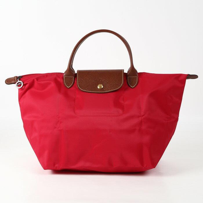 [1623-M號] 國外Outlet代購正品 法國巴黎 Longchamp 長柄 購物袋防水尼龍手提肩背水餃包亮紅色 0