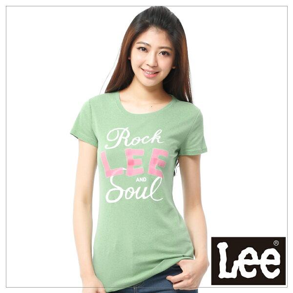 【 390元優惠↘ 】Lee Logo 印刷短袖T恤 -女款(草綠)