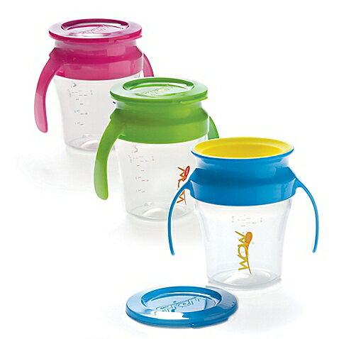 【安琪兒】美國【Wow Baby】360度握把喝水杯+蓋-藍色 2