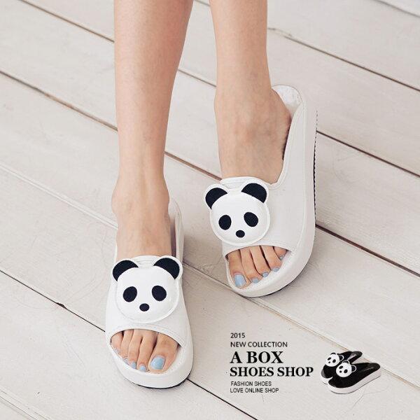 格子舖*【ASW528-1】必敗超卡哇伊熊貓黑白 厚底增高皮革寬帶拖鞋 2色