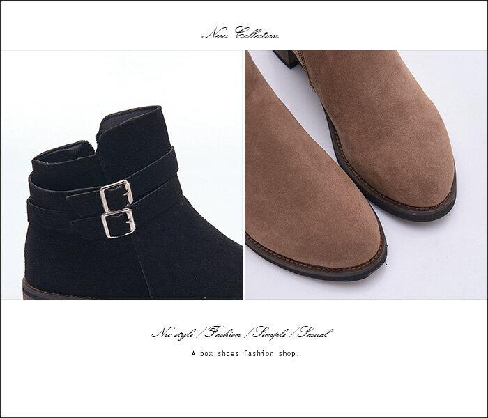 格子舖*【KSA-10】都會女伶 百搭質感麂皮 金屬釦環 拉鍊穿拖 4CM粗中跟短靴 踝靴 2色 1
