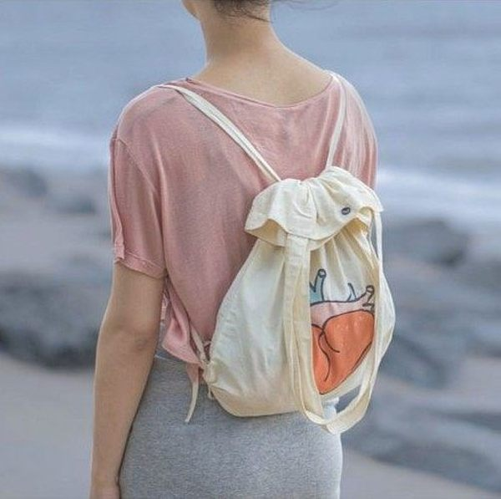 後背包 肩背包 帆布包 SEIO 自訂款 OH,My heart 創意兩用肩背包 後背包 簡約 帆布束口 (三款)