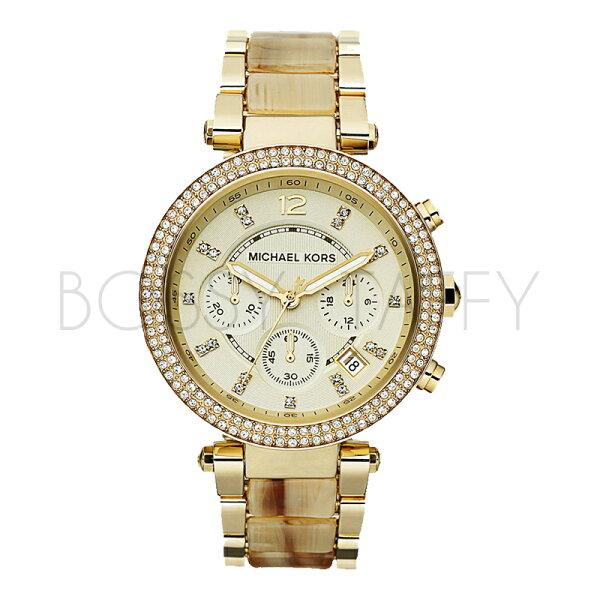 MK5632 MICHAEL KORS 鑲鑽金色大錶盤防水女錶