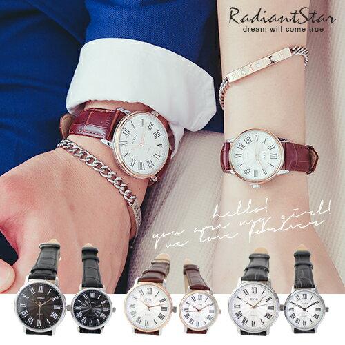 韓國EYKI幸福簇擁羅馬字皮革手錶對錶單件【WEY1052】璀璨之星☆