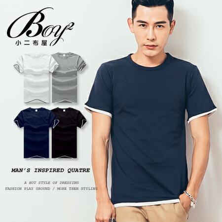 ☆BOY-2☆【PPK82137】簡約素面假兩件短袖上衣 0