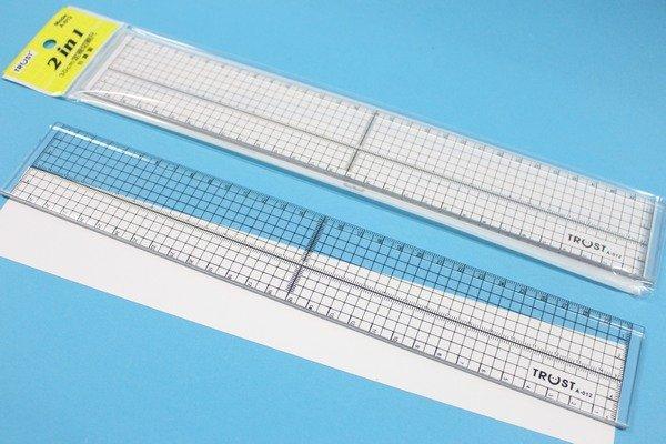 TRUST信億 A-012 30cm定規切割尺 30cm壓克力直尺 2IN1鐵邊尺MIT製/一支入{定50}
