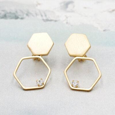 日本Kaza 幾何虛實構面耳環
