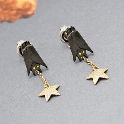 〔APM飾品〕 Luccica 萬聖星光暗夜蝙蝠耳環 ^(含耳夾款^) ^(抗過敏^) ~