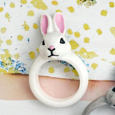 〔APM飾品〕 Gargle 奇蹟物語童話彩兔戒指 ^(抗過敏^) ^(白兔兔^) ^(灰