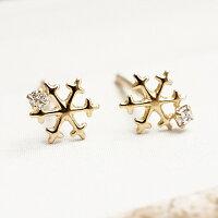 聖誕節禮物推薦〔APM飾品〕日本Luccica 極冬之星耶誕雪花10K金耳環