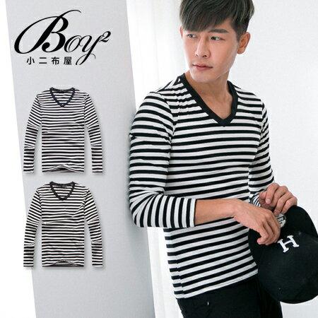 ☆BOY-2☆【NQ96023】男裝 粗條紋V領長袖T恤 0
