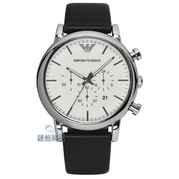 【錶飾精品】ARMANI手錶 亞曼尼表 白面黑皮帶 計時碼錶 日期 男錶 AR1807 全新原廠正品 生日情人禮物
