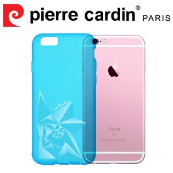 [ iPhone6/6s Plus ] Pierre Cardin法國皮爾卡登3D立體玫瑰TPU透明手機殼 透藍色